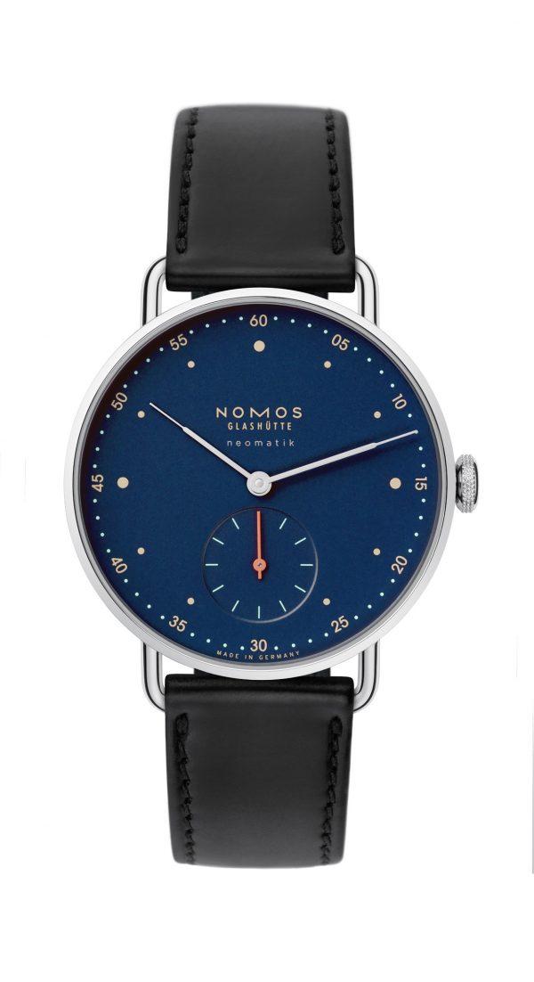 Nomos Metro Neomatik Midnight Blue (ref 1110) - showing strap