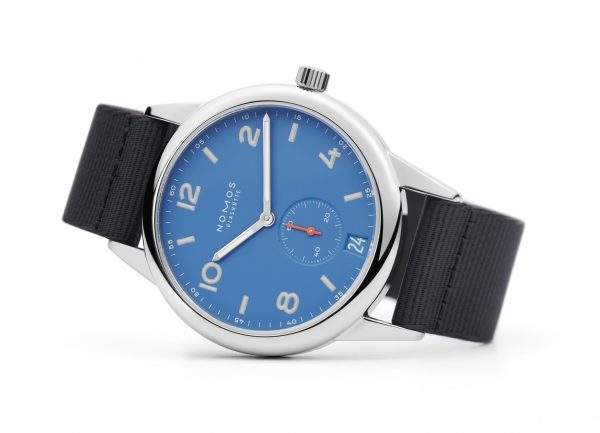 Nomos Club Automatic Date Siren Blue (ref 777) - on its side