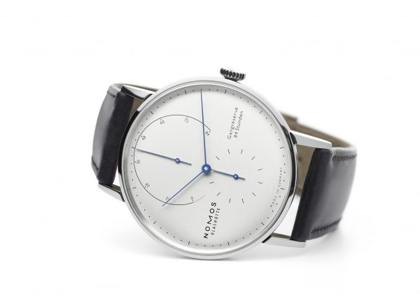 Nomos Lambda White Gold Blue Hands (Ref 933) - on its side
