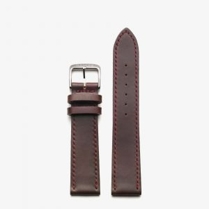 Nomos Shell Cordovan Strap - Brown with red stitching